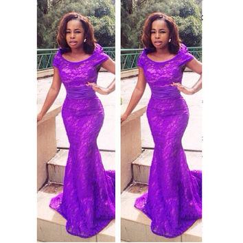 Mermaid Lace Prom Dress Evening Party Gown pst0706