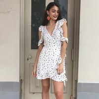 2017 Vintage Style Women Casual V-Neck Poke-a-dot Print Summer Beach Dress [10322236047]