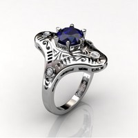 Mexican Art Deco 14K White Gold 1.0 Ct Blue Sapphire Diamond Engagement Ring Wedding Ring R351-14KWGDBS
