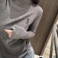 YSL Yves Saint Laurent Fashion Embroidery Letter Top Sweater
