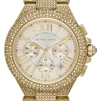 Michael Kors 'Camille' Crystal Encrusted Chain Link Watch, 44mm