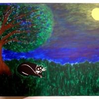 "16"" x 20"" Original Acrylic Rescued Black Cat Painting 