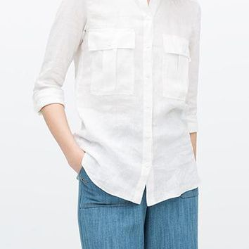 Tunic Style White Blouse - Mandarin Collar / Breast Pockets