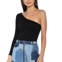 Suzette One Shoulder Rib Long Sleeve