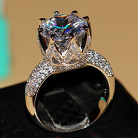 8ct Solitaire Luxury 925 Silver White Topaz Simulated Diamond Wedding Band Crown Ring Size 5-11