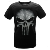 Punisher Printed Black Cotton Tees #chrome