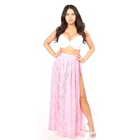 Daisy Corsets Sheer Pink Lace Skirt