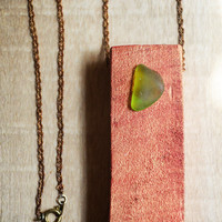 Red Gold Wood Green Sea Glass Necklace