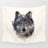 Wolf // Persevere Wall Tapestry by Amy Hamilton