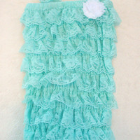 Light bluish green Lace Petti Ruffle Romper-Baby Girl-Preemie-Newborn-Shabby Flower Bow-Infant-Child-Clothes-Toddler-Photography Prop-Unique