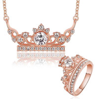 floating charms 18K Gold Plating jewelry set crown crystal necklace+ring wedding jewelry SMTPS399