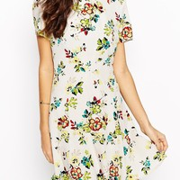 Fallen Star Skater Dress In Pixelated Floral Print