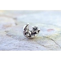 Silver Moon and Stars Nose Ring Nose Stud