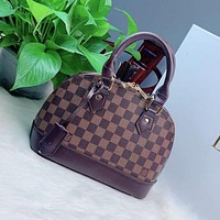LV Louis Vuitton hot sale printed letters stitching color ladies one-shoulder shell bag shopping messenger bag