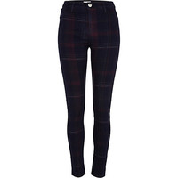 River Island Womens Dark wash plaid Molly jeggings