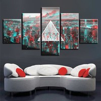 5 Pieces Abstract Pink Floyd Rock Music And Color Wall Art 5 Panel Piece Picture