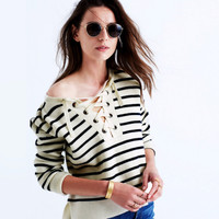Black and White Stripe Lace-Up Sweater