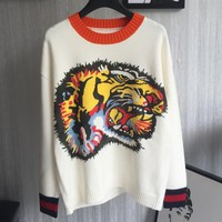 GUCCI The tiger head Sweater knitwear men and women Top