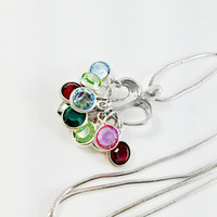 """Mother's Loving Embrace Pendant Necklace - Birthstone Charm Pendant - Carolyn Pollack Sterling Necklace - 18"""" - 22"""" Sterling Chain Necklace"""