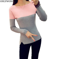 ONLYWONG Knitted Elasticity Sweater Women Spring Autumn Long Sleeve female Pullovers Cozy Quality women jumper