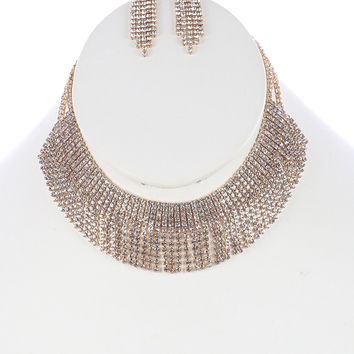 "12"" gold crystal layered bib choker collar necklace 1.30"" earrings 1.25"" wide"