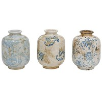 Terra-Cotta Vase With Transfer-ware Pattern Blue White - 4-in x 5-3/4-in