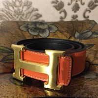 Hermes Mens Belt, Size 31 To 38 Waist , Orange With Brushed Gold Buckle ,
