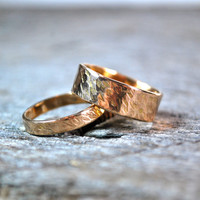 His and Hers Wedding Rings - Matching Gold Wedding Rings - 14K Hammered Gold Rings - Wedding Band Set