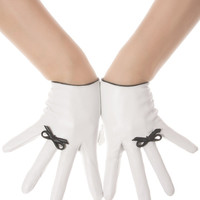 White Bow Leather Gloves