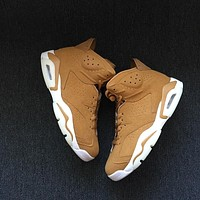Tagre™ Best Deal Online Nike Air Jordan Retro 6 Wheat Golden Harvest/Elemental Gold Men Sneakers Women Sports Shoes 384664-705