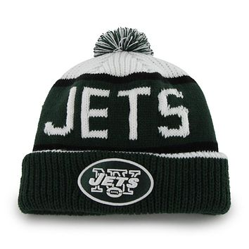 New York Jets - Logo Calgary Dark Green and White Pom Pom Beanie