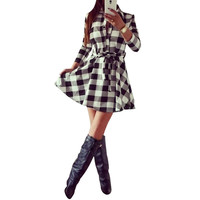 Womens Plaid Romper Dress Ladies Party Mini Shirt Dress Lovely Dress Black Red