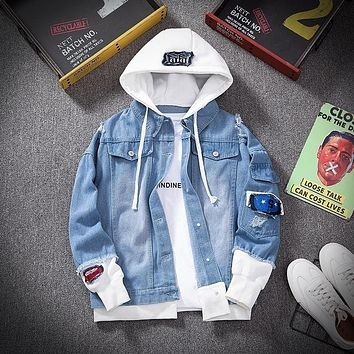 Spring Autumn Hooded Denim Jacket Men'S Hip Hop Jeans Coat Retro Jean Jacket Street Casual Bomber Jacket Outerwear Hoodies