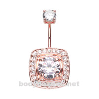 Rose Gold Grand Essentia Belly Button Ring Stainless Steel Body Jewelry