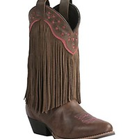 Smoky Mountain Women's Brown with Fringe Traditional Toe Western Boots