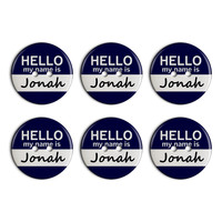 Jonah Hello My Name Is Plastic Resin Button Set of 6
