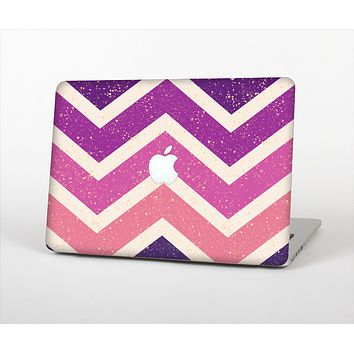 """The Purple Scratched Texture Chevron Zigzag Pattern Skin Set for the Apple MacBook Pro 13"""" with Retina Display"""