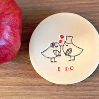 Wedding Ring Holder Bird Plate I DO  Ceramic Ring Dish Ivory Ring Pillow Custom Ring Bearer Bowl Eco Friendly Pottery