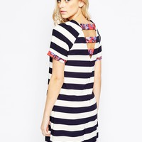 Girls on Film Striped Shift Dress with Contrast Floral Trim