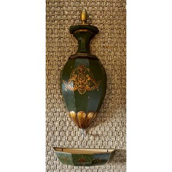 Green Tole Toleware Antique Country French Provincial Lavabo Wall Fountain