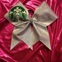 Cheer Bow - Coffee Girl -White Hologram