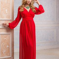 Red Maxi Dress, long evening dress, Bridesmaids Dress, Formal dress, Evening Gowns, Special occasion womens dress, with sleeves
