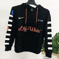 OFF-WHITE X NIKE New Popular Women Men Casual Big Logo Print Long Sleeve Hooded Sweater Top Black I13113-1