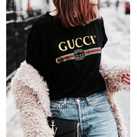 """""""Gucci""""Hot letters print T-shirt top White"""