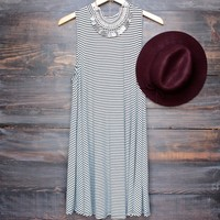 full of stripes sleeveless t shirt dress