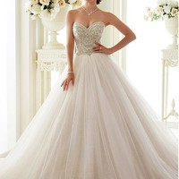 [195.99] Fabulous Tulle Sweetheart Neckline Ball Gown Wedding Dresses With Beaded Embroidery - dressilyme.com