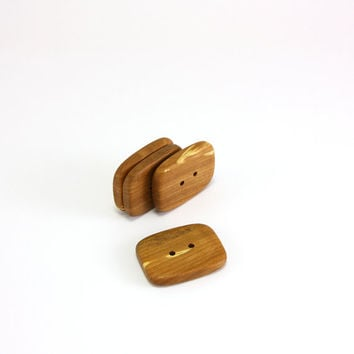 Handmade buttons - Rectangular applewood 26mm (1.02in) - Set of 4 natural brown buttons