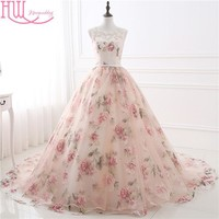 Latest Long Evening Dresses With Lace Appliques Printed Floral Formal Prom Dress For Women Real Photo In Stock Robe De Soiree