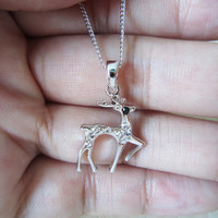 14K  white gold necklace, crystal diamond, deer necklace, a short paragraph, clavicle chain, best gift