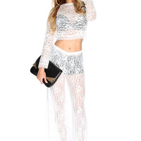 Sexy White Long Sleeves Floral Lace 2.Piece Outfit